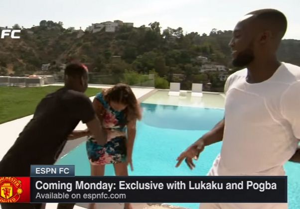 Pogba pushes journalist into swimming pool